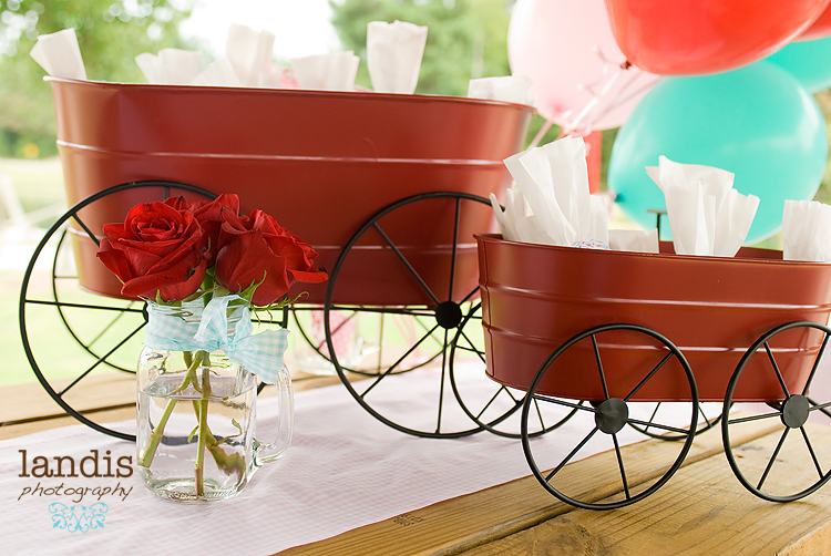 Farm Party, Red Wagon, DIY Glassine Bag and Red, Pink & Aqua Twine Balloons